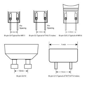 bi pin GU10 MR16 lamp holder dimension