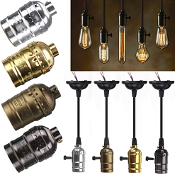 Golden Aluminum Antique vintage pendant brass light bulb socket
