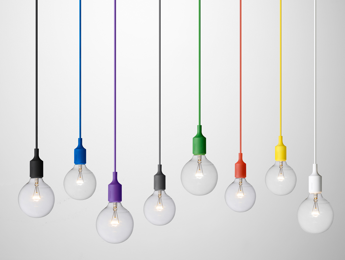 coloured cord pendant lights