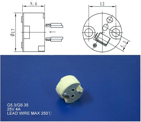 gu5.3 base socket dimension size