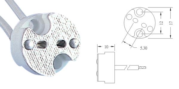 12v halogen socket size