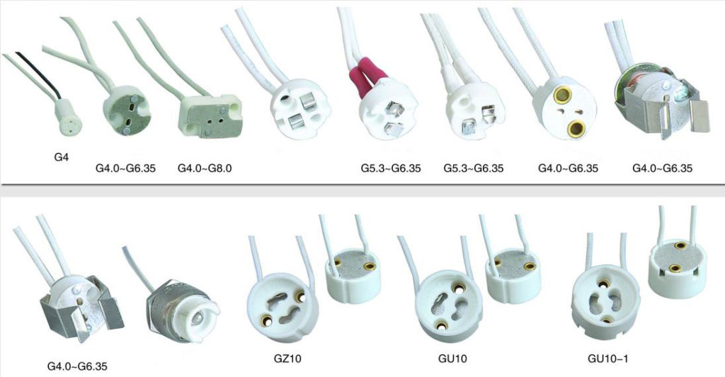 Gu10 socket leads types