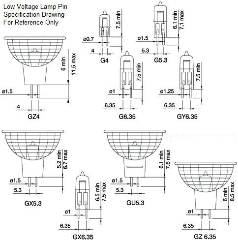 Bulb base led halogen lamp holders diagram size