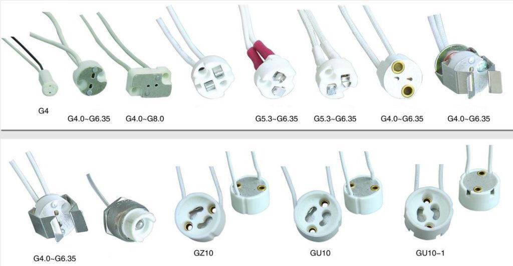 Bulb fittings led halogen lamp base types