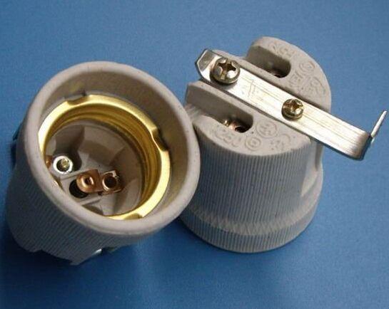 E27 519B porcelain light bulb socket with bracket