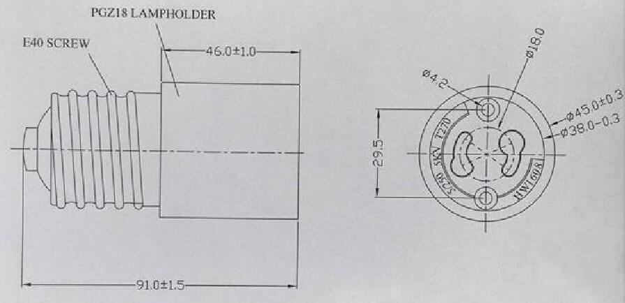 PGZ18 PGZX18 Light Socket diagram