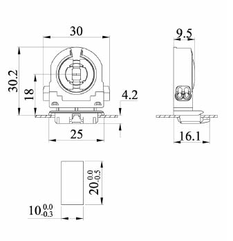 Single T8 fluorescent light holder G13 F41F diagram drawing