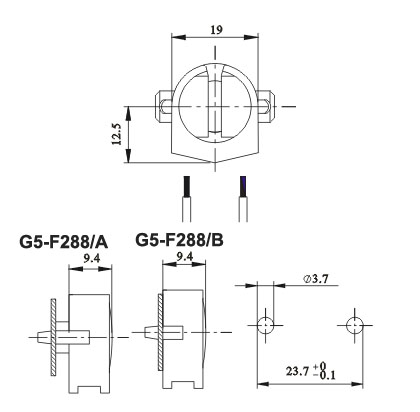 fluorescent LED lamp holders G5 F288 AB diagram