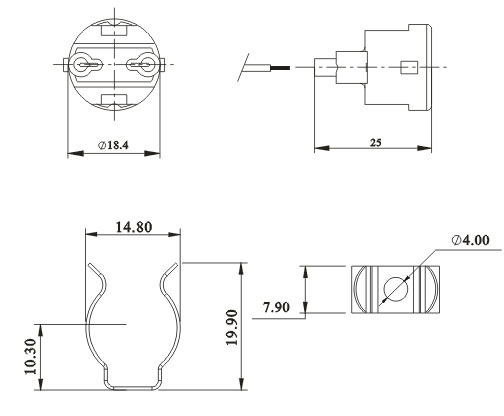 T5 fluorescent lamp holders base Screw fixing diagram