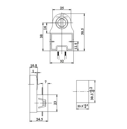 fluorescent light starter socket lamp holders G13 F03 diagram dimension