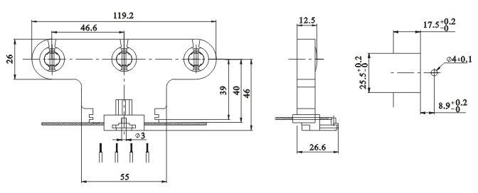 Triple fluorescent LED tube lamp holders G13 F263 C Diagram