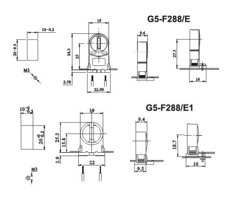 fluorescent LED lamp holders G5 F288 E1 diagram