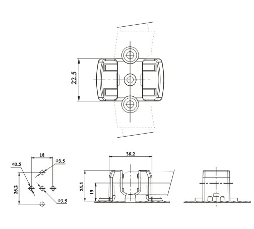 2GX13 surface-mounted lamp holders F58 diagram