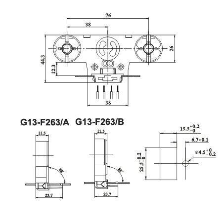 Twin fluorescent LED tube lamp sockets with starter holder G13 F263 AB diagram