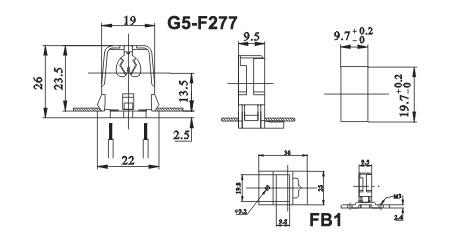 T5 single fluorescent LED lamp holders G5 F277 FB1 diagram