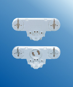Twin fluorescent lamp sockets with starter holder T8 G13