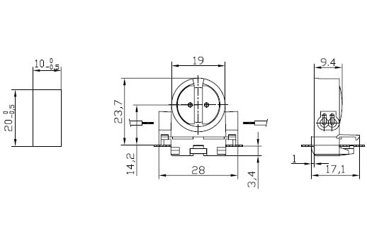 T5 push in fluorescent LED lamp holders G5 F288 G diagram