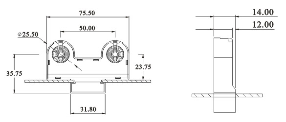 Twin Double fluorescent lamp holders G13 F263 D base diagram