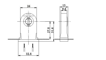 LED fluorescent light holders G13 F02 diagram