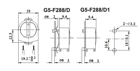 fluorescent LED lamp holders G5 F288 D1 diagram