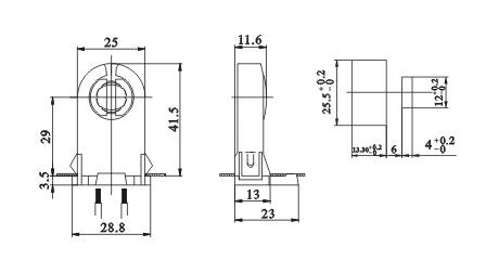 T8 Push through led fluorescent light socket lampholders G13 F02 drawing