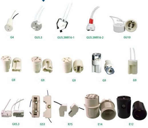 12v halogen LED bulb connector lamp holder sockets types