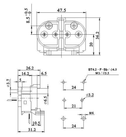 2G11 4 Pin H Tube energy-saving surface mounted lamp holders diagram