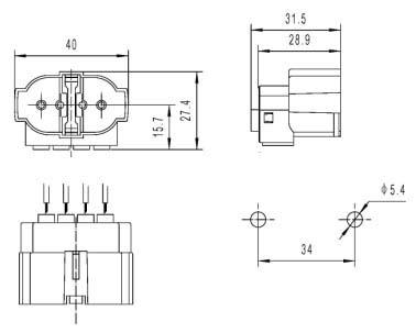 2G7 4 Pin H Tube energy-saving Surface mounted lamp holder Diagram
