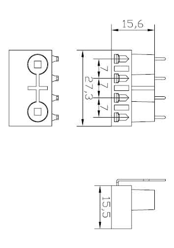 2G7 Surface mounted four needle Plug in lamp holders diagram