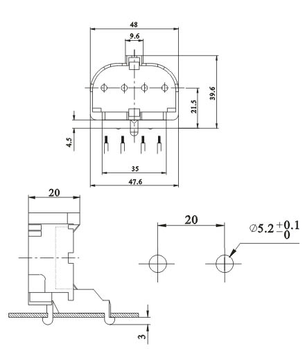 2G11 4 Pin H Tube Snap in surface mounted lamp sockets diagram