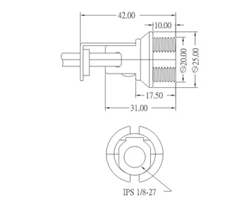E12 Phenolic Edison Screw Lamp base GE-6012 Drawing
