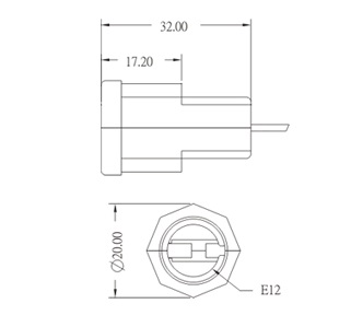 E12 Phenolic Candelabra Edison Screw Lamp holders Diagram