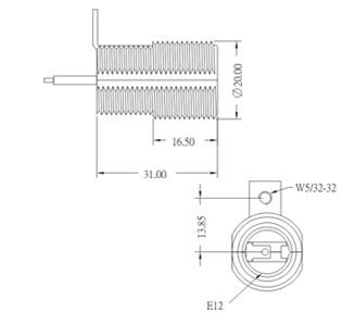 E12 Phenolic Candelabra Lamp holder with bracket drawing