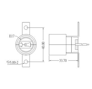E17 Phenolic Lamp holder base with bracket GE-317-1 Drawing