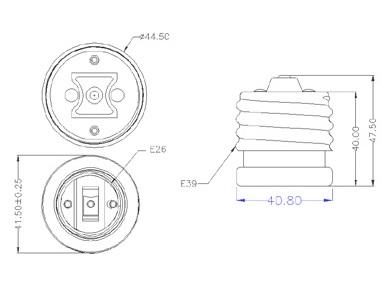 E39 to E26 lamp holder socket base reducer Adaptors Diagram
