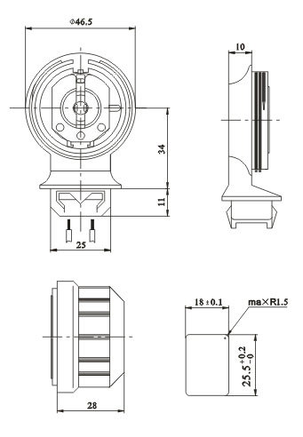 T8 G13 rotary protected dustproof fluorescent lamp holders Diagram