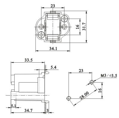 G23 GX23 Surface mountd H Tube Push in lamp holders Diagram