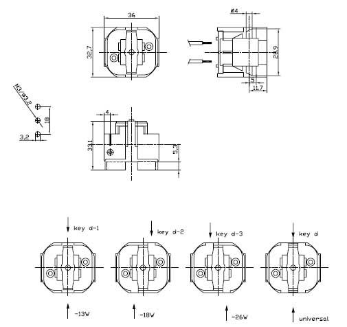 G24d GX24d 2 pin plug in CFL lamp holders Diagram