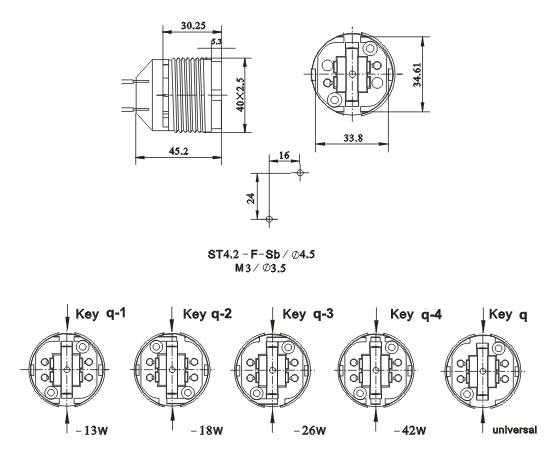 G24q GX24q four needle Plug in lamp holders diagram