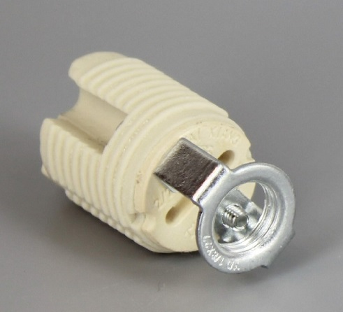 G9 ceramic lamp socket base with push terminals and 1/8IPS hickey