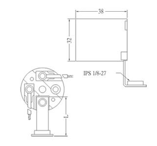 GE-6002L E26 Phenolic Lamp holder sockets with L bracket Diagram