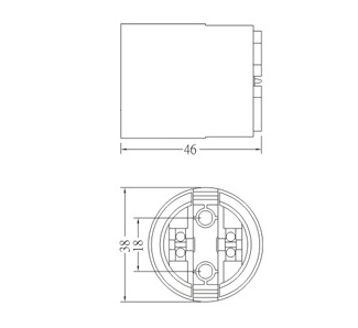 GE-6050 E27 Plastic lamp socket diagram