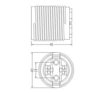 GE-6051 Plastic lamp socket base E27 Drawing