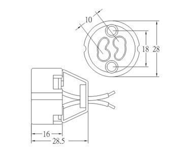 GZ10 porcelain lamp socket base with ring bracket dimension