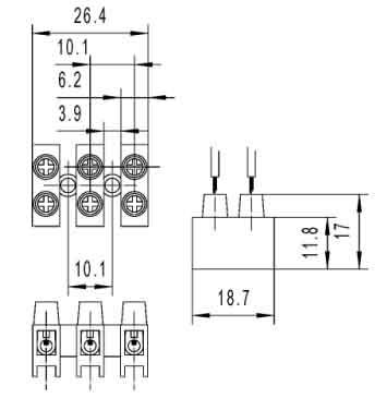 Low Voltage PCB 100 Amp Plastic Spade Screw Terminal Block Dimension