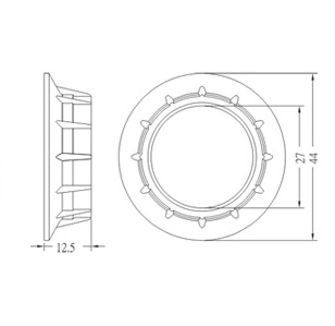 Phenolic ring for E14 lamp holder GE-6001 Diagram