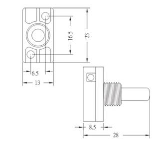 Push botton switch GE-7000 RU Dimension
