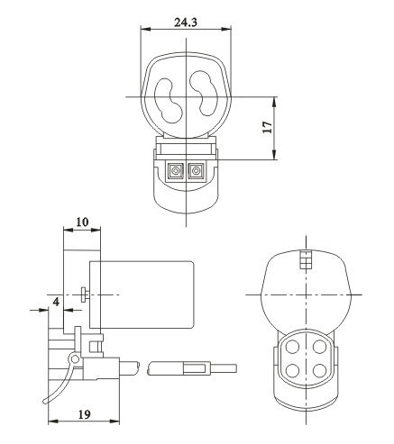 Push on lamp socket with starter holder G10q F33 diagram