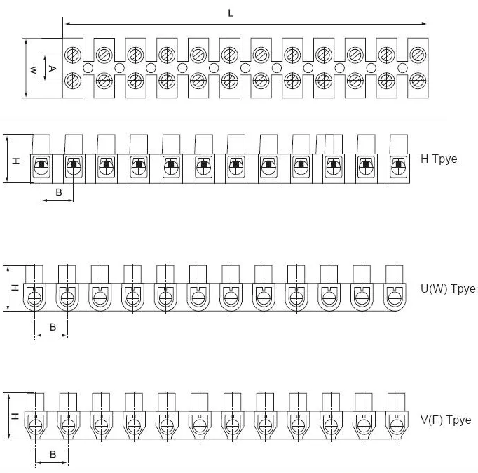Terminal Block for lighting wire connection screw terminal strip types
