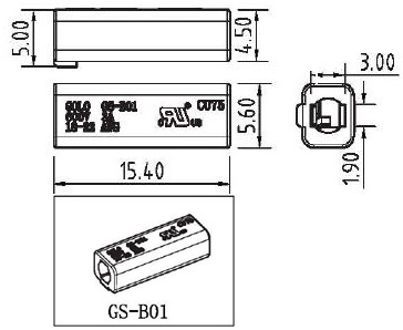 SMD Wire PC Connector GS-B01 Dimension